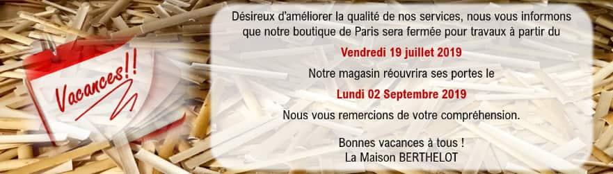 Fermeture 2019 Paris